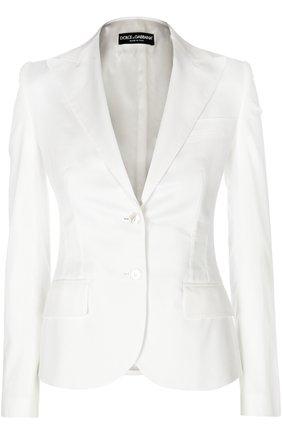 Приталенный жакет на пуговицах с карманами Dolce & Gabbana белый | Фото №1