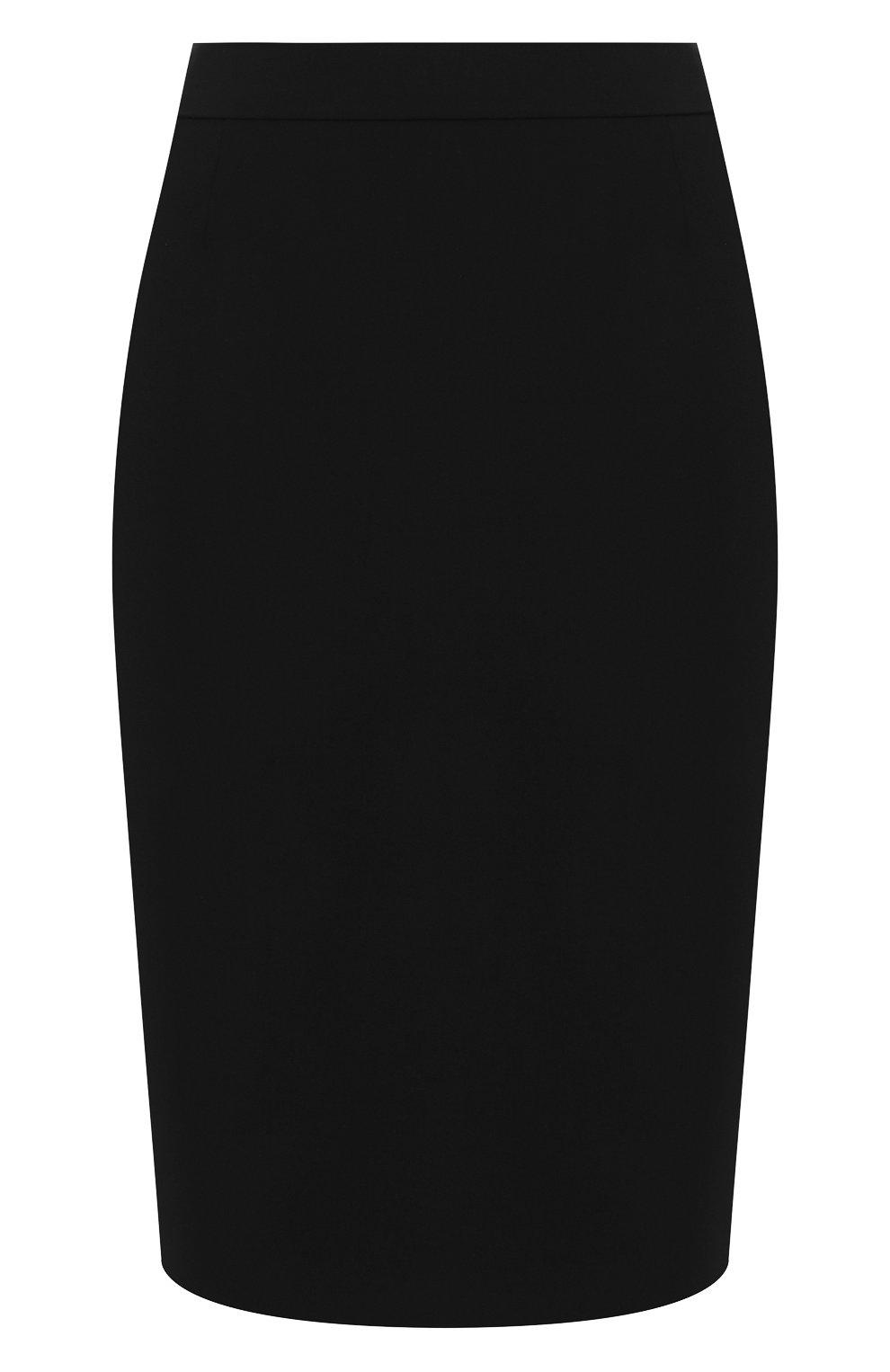 Женская шерстяная юбка BOSS черного цвета, арт. 50291813   Фото 1