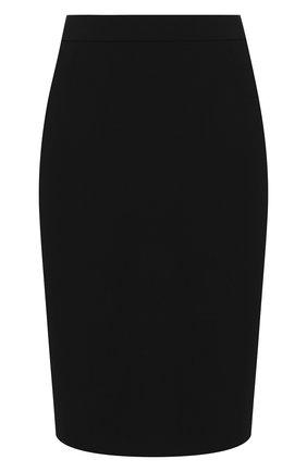 Женская шерстяная юбка BOSS черного цвета, арт. 50291813 | Фото 1