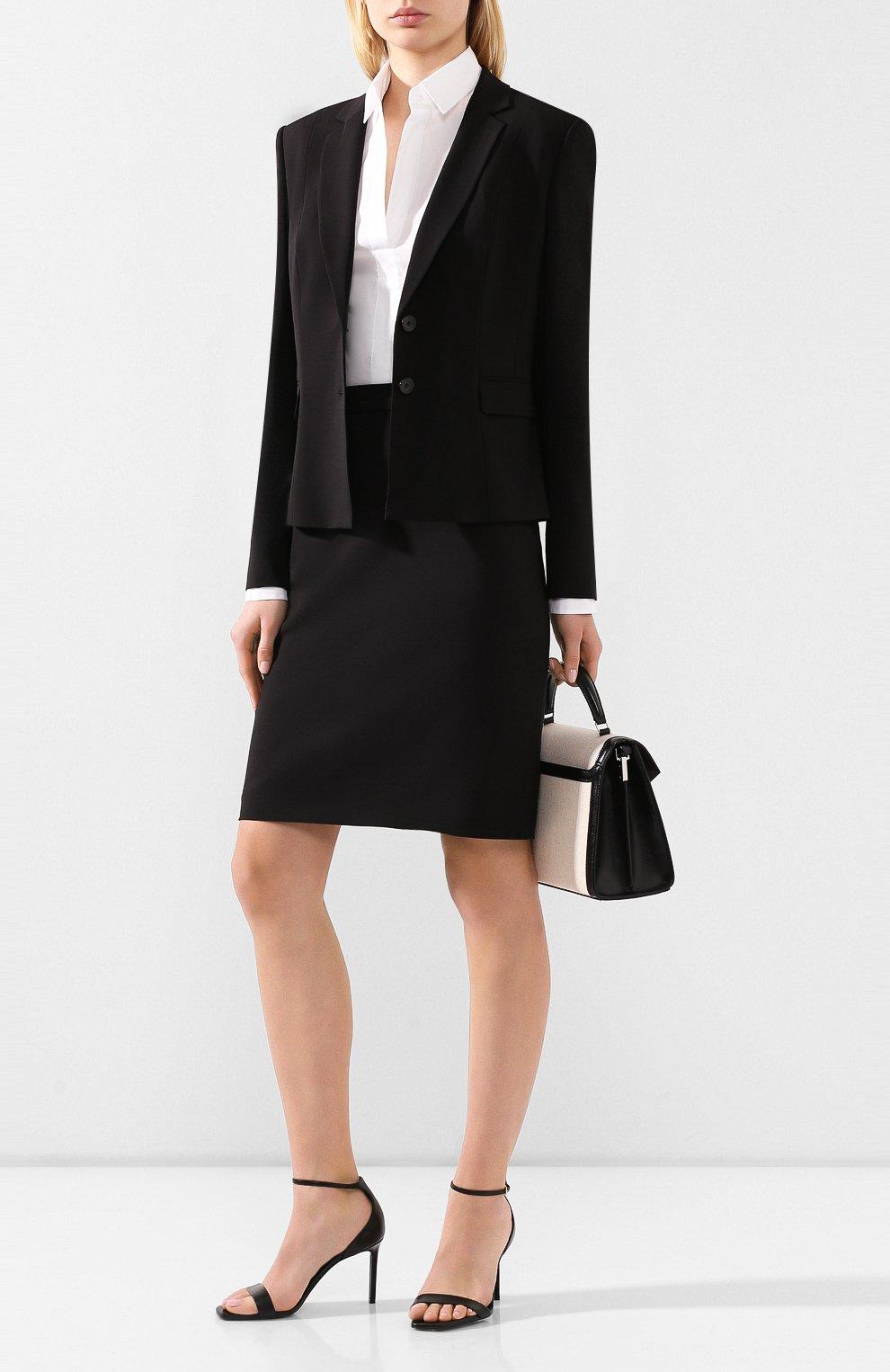 Женская шерстяная юбка BOSS черного цвета, арт. 50291813   Фото 2