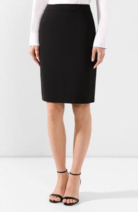 Женская шерстяная юбка BOSS черного цвета, арт. 50291813   Фото 3