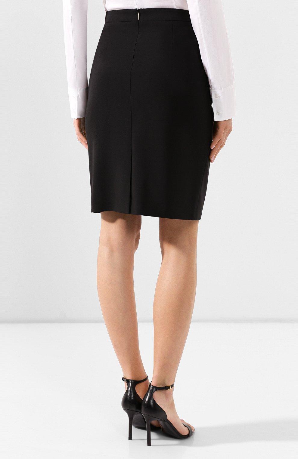 Женская шерстяная юбка BOSS черного цвета, арт. 50291813   Фото 4