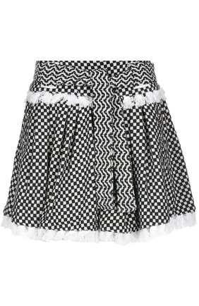Мини-юбка в складку с контрастным принтом и поясом Dodo Bar Or черно-белая | Фото №1