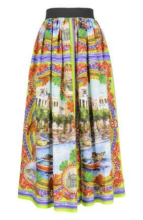 Юбка-миди свободного кроя с ярким принтом Dolce & Gabbana разноцветная   Фото №1