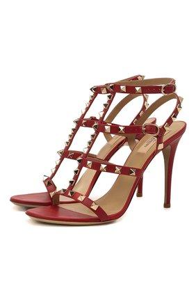 Женские кожаные босоножки valentino garavani rockstud на шпильке VALENTINO красного цвета, арт. LW1S0A27/V0D | Фото 1
