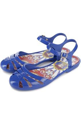 Детские сандалии с круглым мысом Dolce & Gabbana ультрамаринового цвета | Фото №2