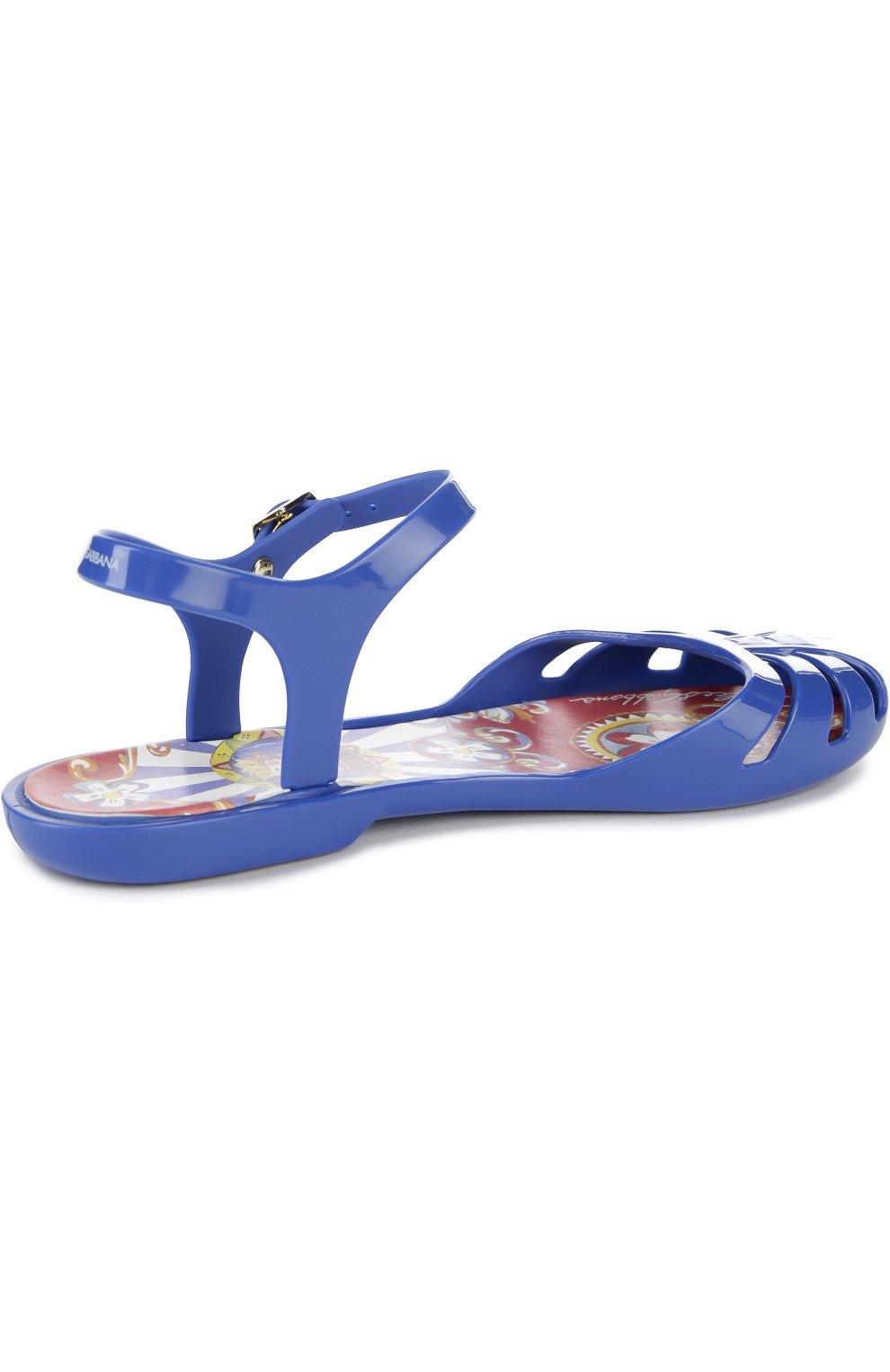 Детские сандалии с круглым мысом Dolce & Gabbana ультрамаринового цвета | Фото №3