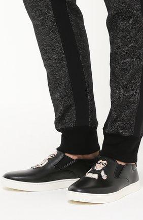 Кожаные слипоны London с аппликацией DG Family Dolce & Gabbana черные | Фото №2