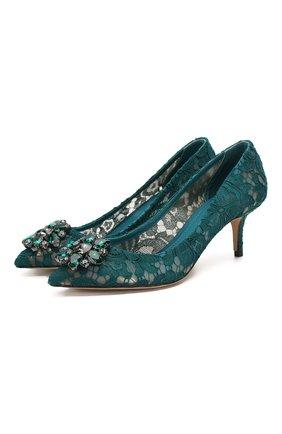 Женская текстильные туфли rainbow lace DOLCE & GABBANA зеленого цвета, арт. 0112/CD0066/AL198 | Фото 1