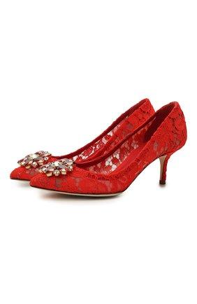Женская текстильные туфли rainbow lace DOLCE & GABBANA красного цвета, арт. 0112/CD0066/AL198 | Фото 1