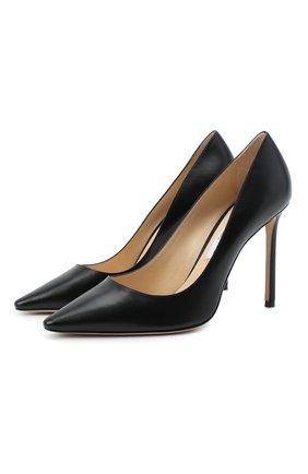 Женская кожаные туфли romy 100 на шпильке JIMMY CHOO черного цвета, арт. R0MY 100/KID | Фото 1