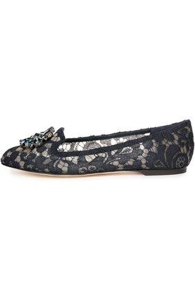 Женские текстильные слиперы rainbow lace DOLCE & GABBANA темно-синего цвета, арт. 0112/CP0010/AL198 | Фото 1