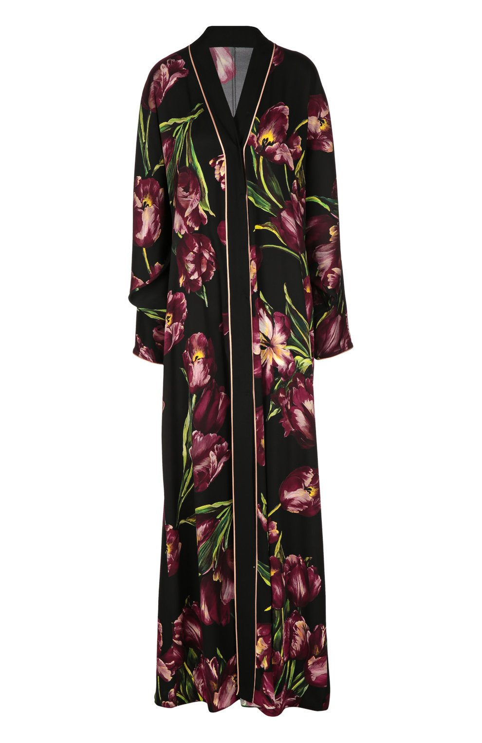 Шелковая абайя с цветочным принтом | Фото №1