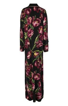 Шелковая абайя с цветочным принтом Dolce & Gabbana бордовое | Фото №2