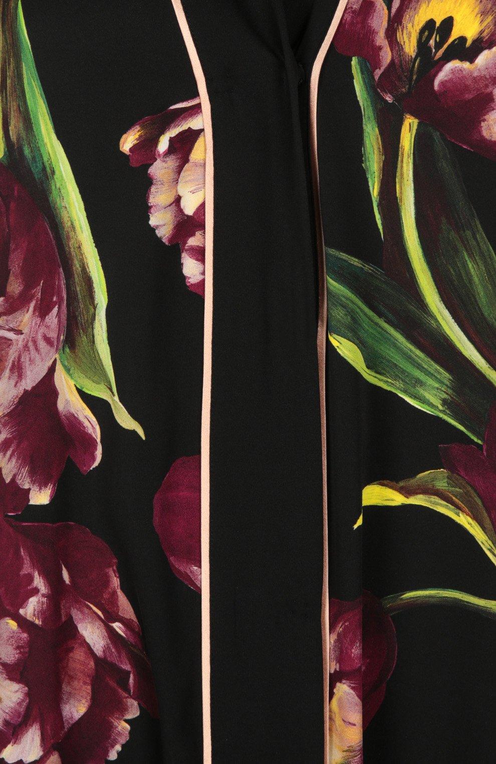 Шелковая абайя с цветочным принтом Dolce & Gabbana бордовое | Фото №3