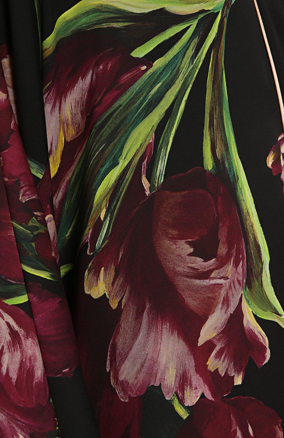 Шелковая абайя с цветочным принтом Dolce & Gabbana бордовое | Фото №4