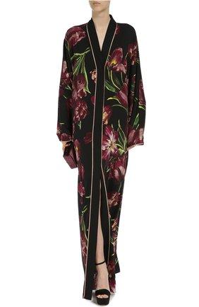 Шелковая абайя с цветочным принтом Dolce & Gabbana бордовое | Фото №5