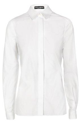 Приталенная хлопковая блуза Dolce & Gabbana белая | Фото №1