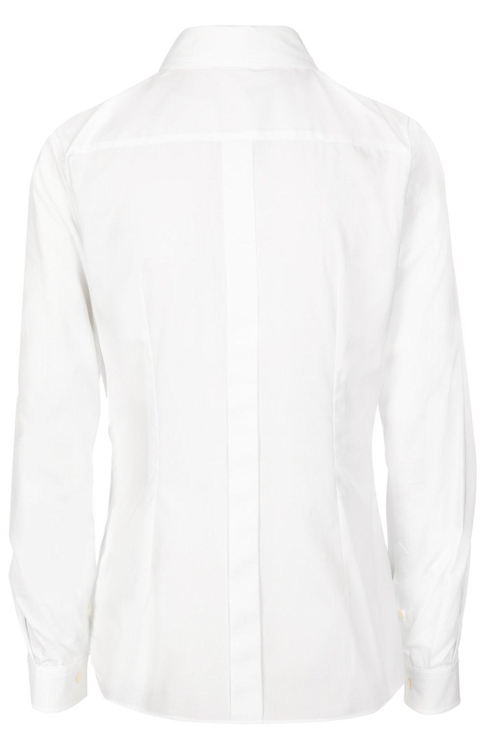 Приталенная хлопковая блуза Dolce & Gabbana белая | Фото №2
