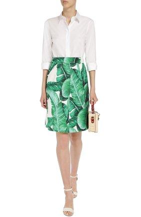 Приталенная хлопковая блуза Dolce & Gabbana белая | Фото №4
