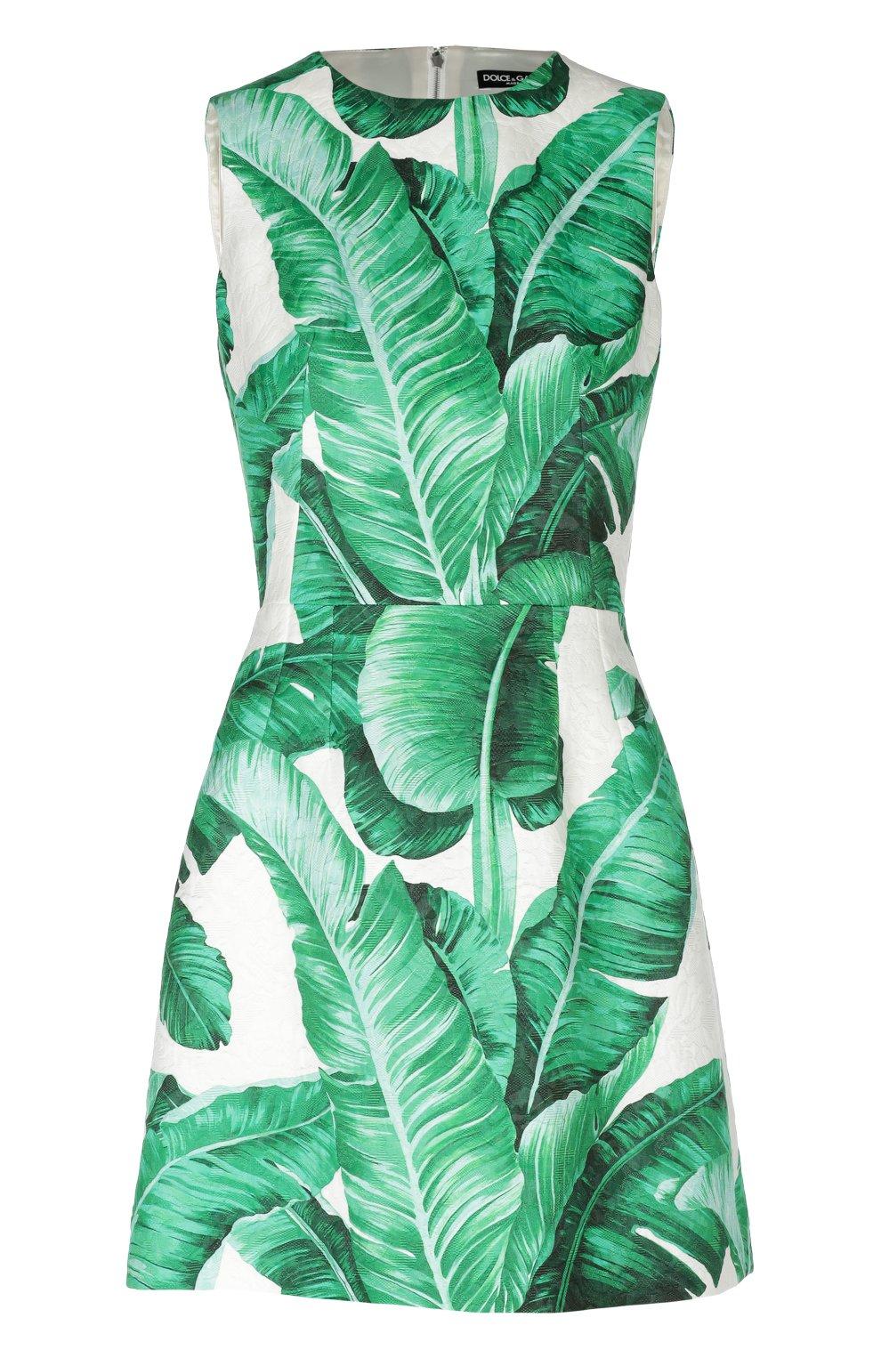 Приталенное мини-платье без рукавов с цветочным принтом   Фото №1