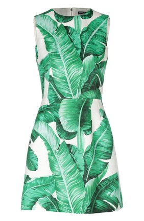 Приталенное мини-платье без рукавов с цветочным принтом Dolce & Gabbana зеленое   Фото №1
