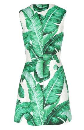 Приталенное мини-платье без рукавов с цветочным принтом Dolce & Gabbana зеленое   Фото №2