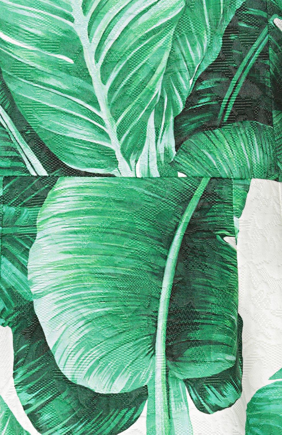 Приталенное мини-платье без рукавов с цветочным принтом Dolce & Gabbana зеленое   Фото №3
