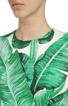 Приталенное мини-платье без рукавов с цветочным принтом Dolce & Gabbana зеленое   Фото №4