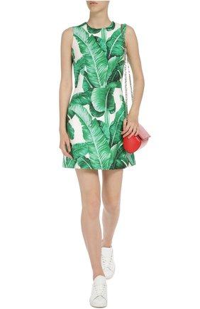 Приталенное мини-платье без рукавов с цветочным принтом Dolce & Gabbana зеленое   Фото №5