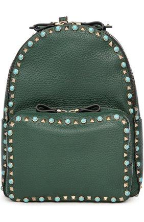Кожаный рюкзак Rockstud Rolling с вышивкой на лямках | Фото №1