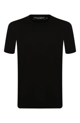 Хлопковая футболка с круглым вырезом Dolce & Gabbana черная | Фото №1