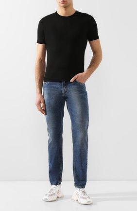 Хлопковая футболка с круглым вырезом Dolce & Gabbana черная | Фото №2
