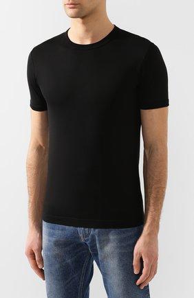 Хлопковая футболка с круглым вырезом Dolce & Gabbana черная | Фото №3