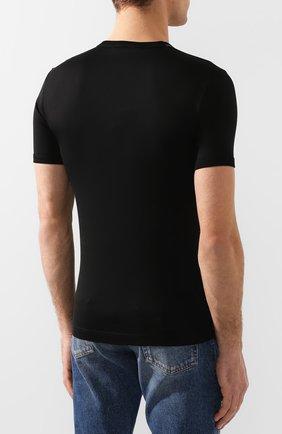 Хлопковая футболка с круглым вырезом Dolce & Gabbana черная | Фото №4