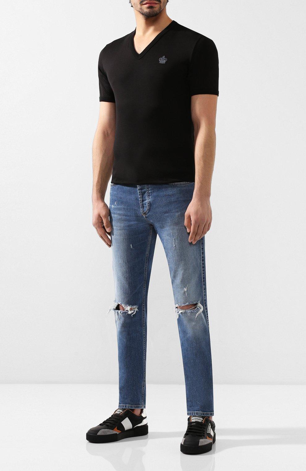Хлопковая футболка с  V-образным вырезом | Фото №2