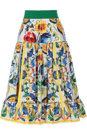 Юбка-миди А-силуэта с ярким принтом и широким поясом | Фото №1