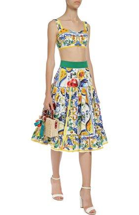 Юбка-миди А-силуэта с ярким принтом и широким поясом | Фото №2
