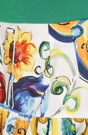 Юбка-миди А-силуэта с ярким принтом и широким поясом | Фото №5