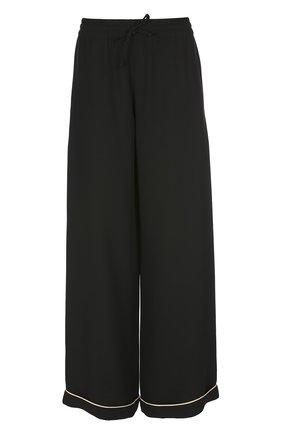 Шелковые брюки в пижамном стиле с контрастной отделкой   Фото №1
