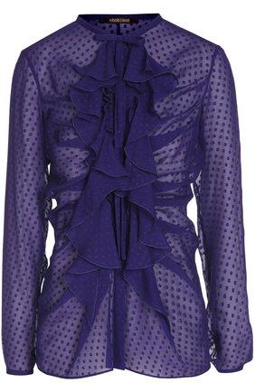 Шелковая полупрозрачная блуза с воланами | Фото №1