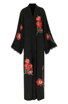 Шелковая абайя с цветочной аппликацией и кружевной отделкой Dolce & Gabbana черное   Фото №1