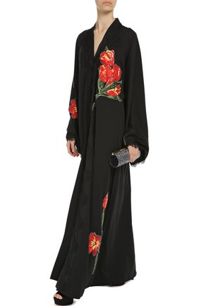Шелковая абайя с цветочной аппликацией и кружевной отделкой Dolce & Gabbana черное   Фото №2