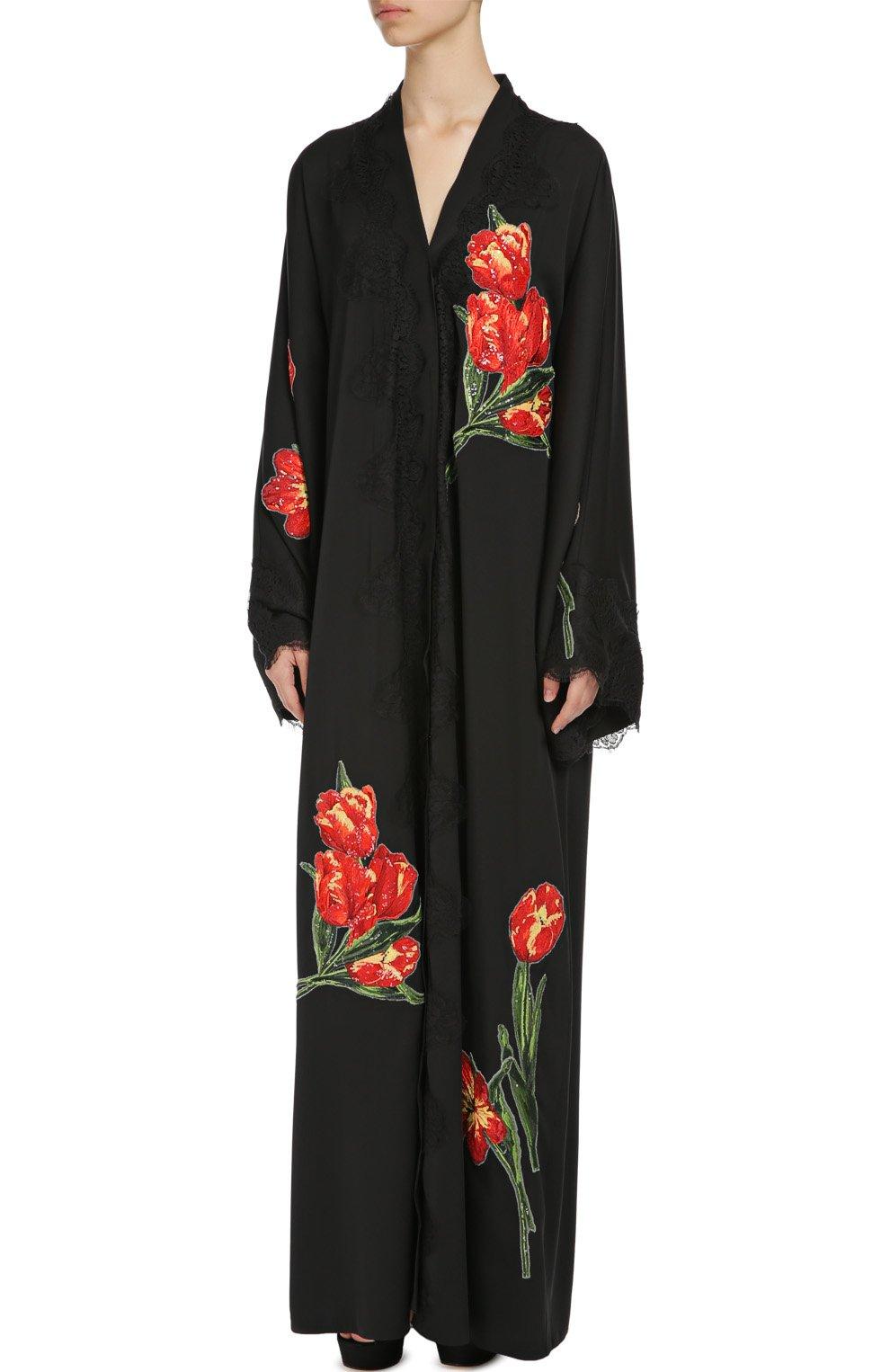 Шелковая абайя с цветочной аппликацией и кружевной отделкой Dolce & Gabbana черное   Фото №3