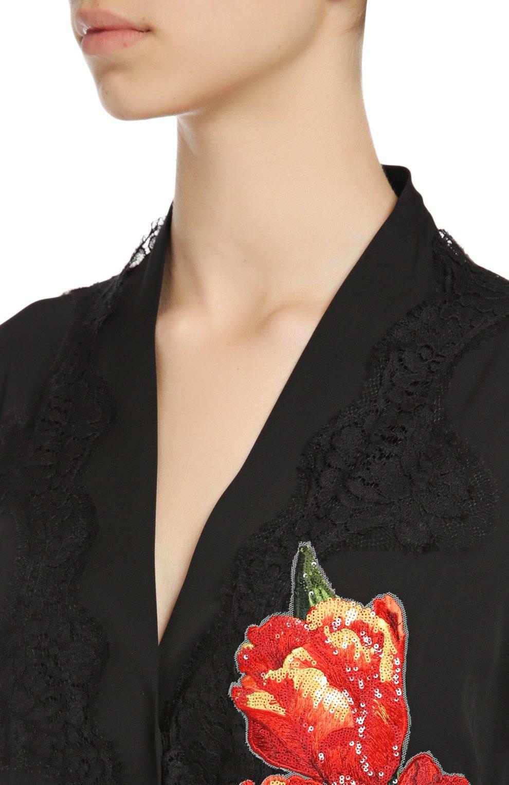 Шелковая абайя с цветочной аппликацией и кружевной отделкой Dolce & Gabbana черное   Фото №5