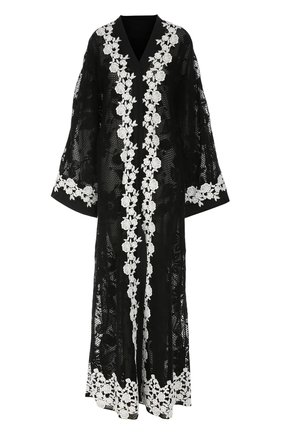 Кружевная абайя с контрастной отделкой Dolce & Gabbana черное | Фото №1