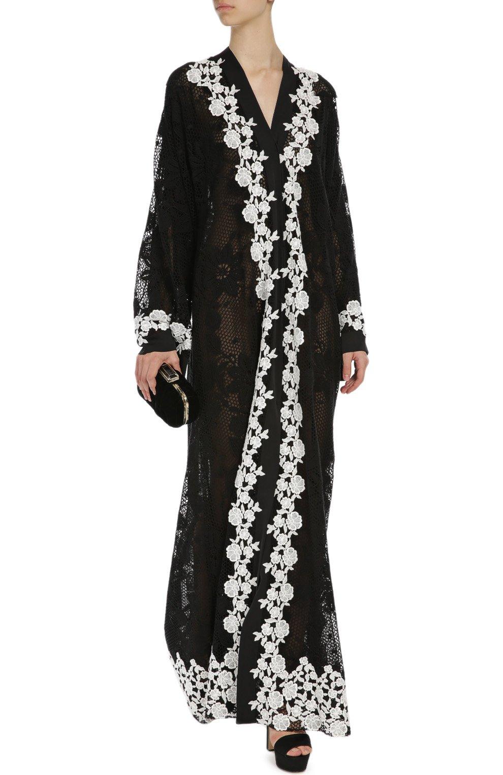 Кружевная абайя с контрастной отделкой Dolce & Gabbana черное | Фото №2