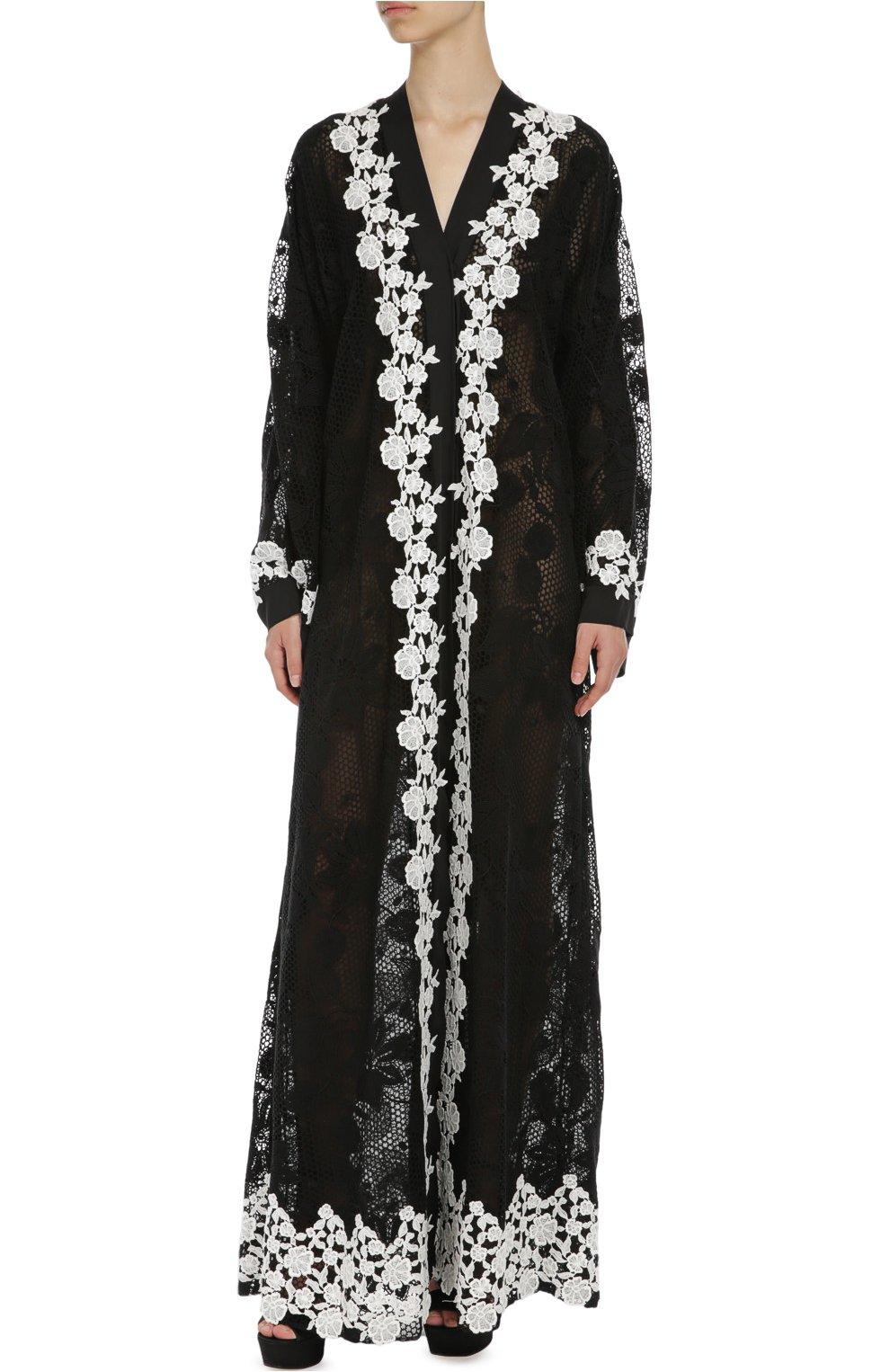 Кружевная абайя с контрастной отделкой Dolce & Gabbana черное | Фото №3