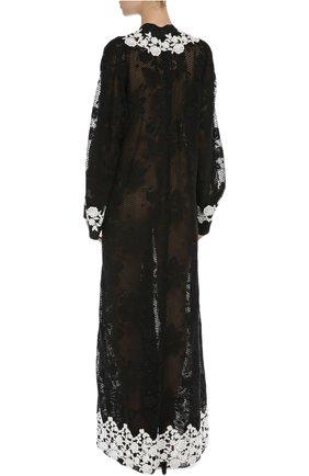 Кружевная абайя с контрастной отделкой Dolce & Gabbana черное | Фото №4