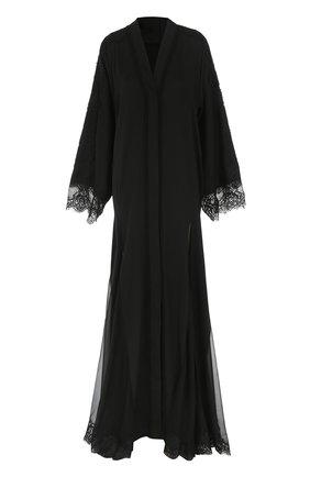 Шелковая абайя с кружевной отделкой Dolce & Gabbana черное | Фото №1